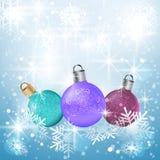 Julvektorbakgrund med bollar Fotografering för Bildbyråer