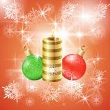 Julvektorbakgrund med stearinljuset och bollar Royaltyfri Fotografi
