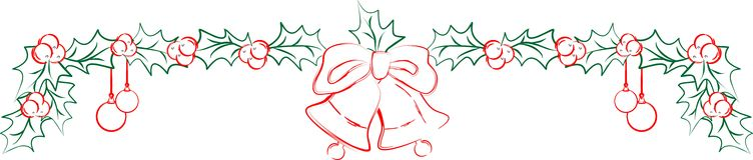 Julvektorgirland med järnek och klockor Stock Illustrationer