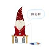 Julvektorkort isolerade Santa Claus, fiskare på vit bakgrund stock illustrationer