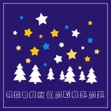 Julvektorkort med önska i espanol: Feliz Navidad Royaltyfri Bild