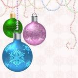Julvektorkort med bollar Arkivbilder