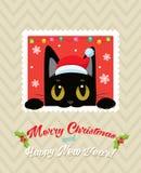 Julvektorkort med den gulliga katten Kort för ferietecknad filmhälsning glad jul royaltyfri illustrationer