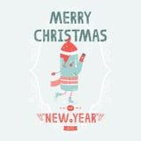 Julvektorkort med gulligt åka skridskor för tillverkare Fotografering för Bildbyråer