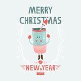 Julvektorkortet med gulligt rånar Royaltyfri Bild