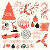 Julvektorsamling Fotografering för Bildbyråer