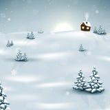 Julvinterlandskap med snöflingor Arkivbilder