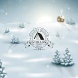 Julvinterlandskap med snöflingor Arkivbild