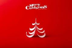 Julvykort med det riktiga pappers- julträdet Arkivbild