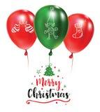 Julvykort med gröna och röda ballonger med klotter Planlagd text Festlig callygraphy Typograpgy affisch stock illustrationer