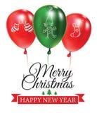 Julvykort med gröna och röda ballonger med klotter Planlagd text Festlig callygraphy Typograpgy affisch vektor illustrationer