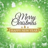 Julvykort med klotter Stor uppsättning av juldesignbeståndsdelen i klotterstil stock illustrationer