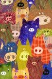 Julvykort med svinet stock illustrationer