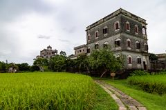 July 2017 – Kaiping, China - Kaiping Diaolou in Zili Village, near Guangzhou. Built by rich overseas Chinese, these family houses are a unique mix of stock photo