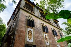 July 2017 – Kaiping, China - Junlu Villa in Kaiping Diaolou Maxianglong village, near Guangzhou. Built by rich overseas Chinese, Diaolou are a unique royalty free stock images