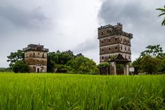 July 2017 – Kaiping, China - Kaiping Diaolou in Zili Village, near Guangzhou. Built by rich overseas Chinese, these family houses are a unique mix of stock image