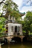 July 2017 – Kaiping, China - Wanxiangting Pavilion in Kaiping Diaolou Li garden complex, near Guangzhou. Built by rich overseas Chinese, Diaolou are a stock images