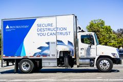 Free July 12, 2019 Santa Clara / CA / USA - Iron Mountain Vehicle Driving On A Street; Iron Mountain Inc. Is An American Company That Royalty Free Stock Photo - 154699945