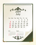 July 2009. 2009 calendar with a blanknote paper - vector illustration royalty free illustration