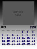 July 2010. Wall calendar with place for your kids image. Week starts on sunday Stock Photo