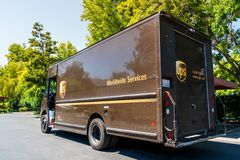 Free July 22, 2019 Sunnyvale / CA / USA - UPS United Parcel Service Vehicle Making Deliveries In South San Francisco Bay Area Royalty Free Stock Photos - 154859738