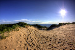 July. Just before sunset overlooking Lake Michigan Stock Photography