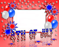 July 4 Independence day background. Illustrated text and red white and blue design for Independence Day, July 4th, with copy space Stock Images