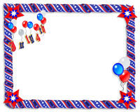 July 4 Patriotic Border Frame. 3D Image and Illustration composition  stars and stripes ribbons patriotic background, border or frame for American holiday, 4th Royalty Free Stock Photography