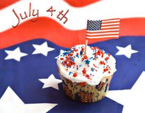 July 4th. American Independence Day  - red, white, blue with text - cupcake decorated for celebration Stock Image