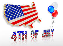 July 4th 3D Patriotic clip art designs. USA map, red, white and blue balloons with text Royalty Free Stock Photography