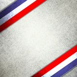 July 4th background. Red, white and blue background with white parchment patriotic ribbons, distressed grunge texture with old worn scratches stock photo