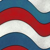 July 4th background. Red, white and blue background with wavy parchment patriotic ribbons in layers like a flag, distressed grunge texture with old worn stock illustration