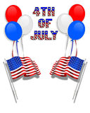 July 4Th background clip art. 3 Dimensional illustration of balloons, american flags, Stars and Stripes for 4th of july patriotic border or background with copy Royalty Free Stock Image