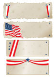 July 4th Banners. Vector art in Illustrator 8. 4 banners with the USA flag and the stars and stripes in graphic format Royalty Free Stock Photo