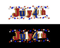 4th of July. 3D Illustration stars 4th of July patriotic 3D text background, border design with red,white and blue stars. 2 styles on white and black royalty free illustration
