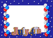 July 4th Border balloons. 3D Illustration stars and stripes ribbons for 4th of July patriotic background, border design or frame with balloons, text and copy Royalty Free Stock Photos