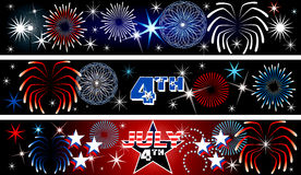 July 4th Firework Banners. Vector Illustration for the 4th of July Independence Day Banners Background. Set of 3 Stock Illustration