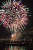 July 4th Fireworks. Above the Charles River in Boston Stock Image