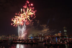 July 4th Fireworks. Above the Charles River in Boston Stock Photo