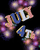 July 4th fireworks with 3D text. July 4th 3D text over black background of digital fireworks for stationary or invitation with stars and stripes in red white and Royalty Free Stock Photo