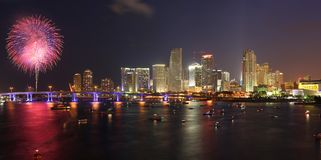 July 4th fireworks, downtown, Miami stock photos