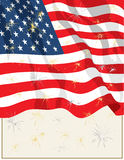 July 4th Flag2. Vector art in Illustrator 8. Cropped USA flag with gold and silver fireworks on beige background with border Royalty Free Stock Photography