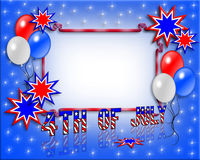 July 4th frame invitation. Illustrated text and red white and blue design for Independence Day, July 4th, with copy space Royalty Free Stock Photos