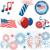 July 4th Icons. Vector Illustration for the 4th of July Independence. Set of Icons and Buttons Vector Illustration