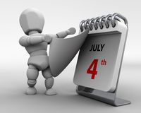 July 4th independance day. 3D render of a man with a calender tearing off a page royalty free illustration