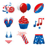 July 4th Party Icons. Vector Illustration of nine icons for the 4th of July Independence Celebration Stock Illustration