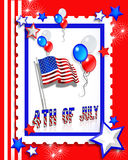 July 4th Party invitation card. Illustrated text and red white and blue design for Independence Day, July 4th, card or invitation Stock Photo