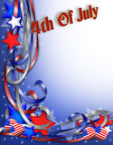 July 4th Patriotic Background. 3D Illustrated stars and ribbons for patriotic 4th of July background, border or corner design Royalty Free Stock Image