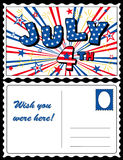July 4th Postcard. Patriotic red, white & blue stars & stripes July 4th postcard with firecrackers. Copy space to add greetings & address for celebrations vector illustration