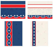 July 4th Postcards. Vector art in Illustrator 8. Set of four Stars and stripes designs in graphic format with sewing lines details for something different Stock Image